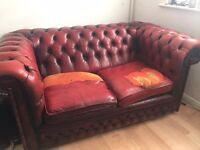 Ox Blood Chesterfield Two Seater Sofa Vintage Used
