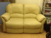 Soft leather sofa. Cream 2seater very comfortable.