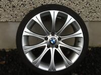 """19INCH 5/120 BMW ALLOY WHEELS WITH WIDER REARS,FRONTS 8.5INCH WIDE & REARS 9.5""""& TYRES FIT 5 SERIES"""