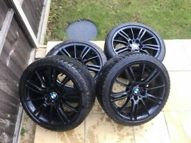 "BMW MV3 Alloys Black Alloy Wheels With Winter Tyres 18"" Z4 E46 E90"