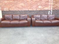2 Brown leather 3 seater sofas