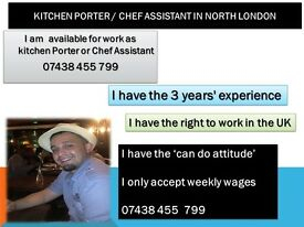 I am Chef Assistant and Kitchen Porter Hire Kitchen Porter or Chef Assistant in London North,