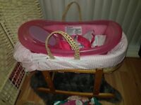Baby girl clothes 0-3 months, baby bath & towel & Moses basket (Can be sold separately)