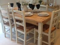Beautiful dining table & 6 chairs finished in Farrow & Ball