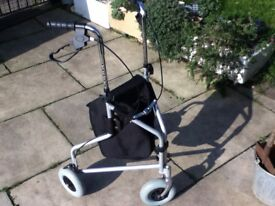 MOBILITY WALKER WALKING AID 3 WHEELS BRAKES AND STORAGE BAG