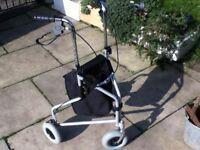 MOBILITY WALKER WALKING AID 3 WHEELS BRAKES AND STORAGE BAG