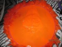 ORANGE PVC LARGE WITCH HAT GREEN WITH FEATHER TRIM NEW GREAT FOR HALLOWEEN