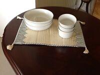 6 Piece White Denby Salad/Soup Bowls