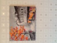 Orange tree town canvas print