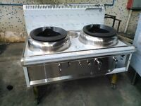 chinese waterless cooling system 2 burners wok ranges