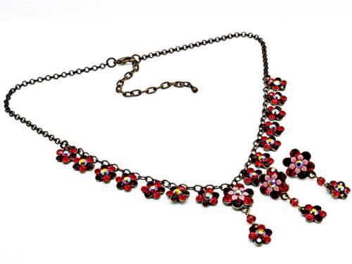 2v Vintage Red Flower Swarovski Elements Crystal Floral Necklace