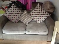 3 seater, 2 seater sofas and puffie