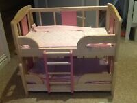 Wooden doll bunk beds £20