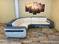 Grey/White Large Leather Corner Sofa