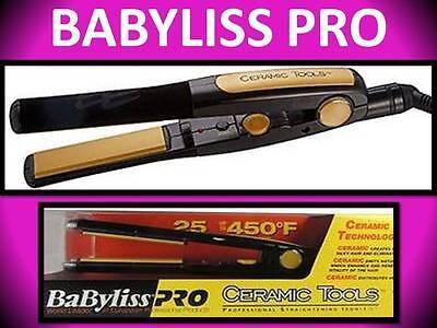 "NEW! BABYLISS PRO CERAMIC TOOLS 1"" HAIR STRAIGHTENER FLAT IRON 25 SETTING CT2555"