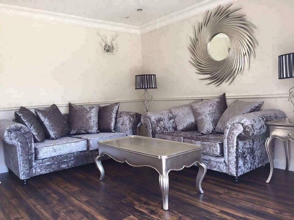 New Silver Grey 3 2 Crushed Velvet Sofas Free Delivery