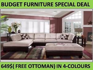 ELEPHANT SECTIONAL WITH FREE OTTOMAN FROM 649$