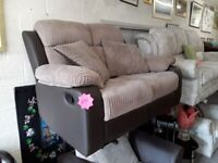 Brown cord leather recliner sofa Copley Mill LOW COST MOVES 2nd Hand Furniture STALYBRIDGE SK15 3DN