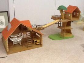 Sylvanian Tree House and Log Cabin