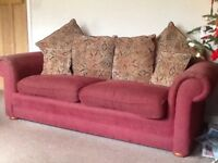 3 seater sofa, 1.5 seater armchair and pouf