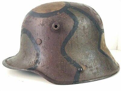 Very Rare NAMED Original German M17 WWI Turtle Camo Helmet with Original Liner