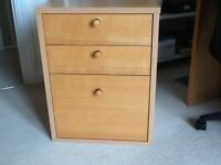 Beech effect 3 drawer filing cabinet