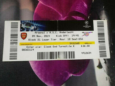 Ticket : Arsenal - RSC Anderlecht 04-11-2014 UEFA Champions League
