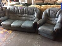 Blue leather sofa and 1 chair