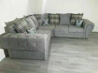 BRAND NEW GREY FABRIC CORNER SOFA SUITE / 3+2 SEATER SETTEE AVAILABLE FOR DELIVERY