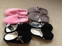 4 X PAIRS OF LADIES SLIPPERS size 5-6 BRAND NEW !!!!!