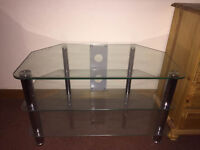 """Silver and Glass TV Stand for Sales - Maximum 37"""" TV"""