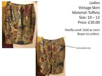 Ladies Skirt - Size 10/ 12 Material : Taffeta Condition: Good