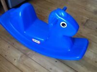 Little Tikes blue rocking horse toy