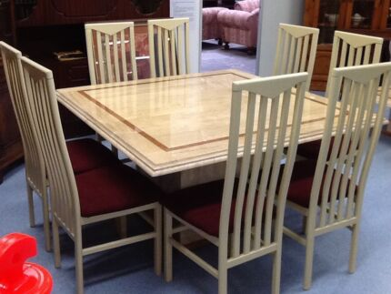 Italian Marble Dining Table And Eight Chairs