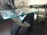Grey and black marble and glass coffee table.