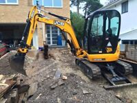 Mini Digger and Driver for hire! Driveways, Fencing, Garden works, shed bases, Patios and Paths!
