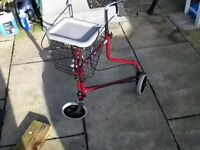 mobility walker 3 wheeled with brakes and storage basket