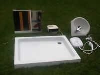 9.5kw electric shower and shower tray 1m x750mm corner sink wall heater and cabinet.