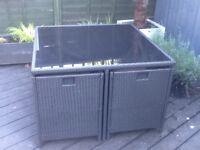 Rattan garden cube set