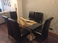 Glass Dining Room Table 6 Chairs Like New