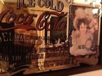 Collectable - Coca Cola mirror with wooden frame. Quite old but in good condition