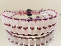 "Handmade bracelet. Rose quartz gemstones, burgundy leather. Fit up to 7½"" wrist. New"