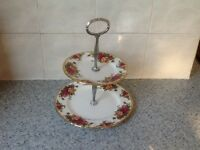 Royal Albert cake stand 2 tear.old country roses.