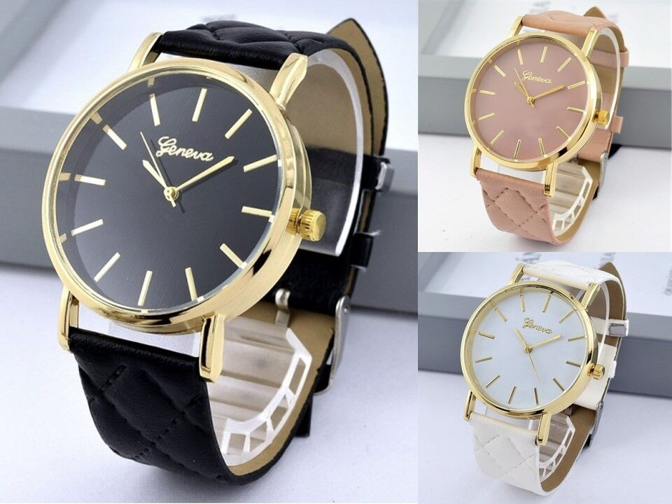 New Women's Geneva Quilted Leather Wrist Watch Lady Band Analog Quartz UK
