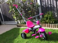 Smartrike Childs tricycle/bike with detachable parent pole. Pink. GC