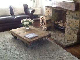 Shabby chic old vintage cart coffee table