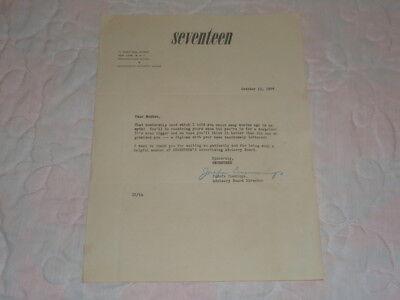 1946 Seventeen Magazine Advertising Advisory Board Original Letter W  Envelope