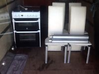 INDESIT COOCKER & GLASS TABLE+4 CHAIRS WITH FREE DELIVERY