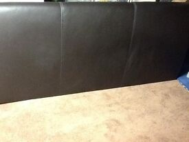 5ft chocolate coloured leather headboard in very good condition