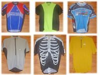 6 quality cycling jerserys of various graphic designs